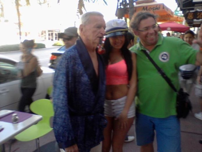 Hugh Hefrfner In South Beach